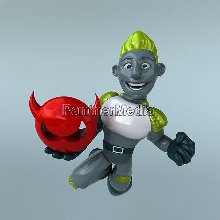 red robot 3d illustration