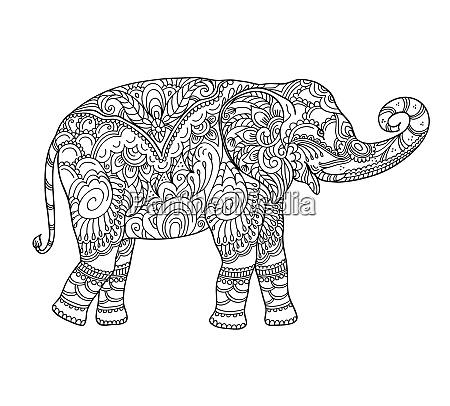zeichnung zentangle elefant fuer malbuch fuer