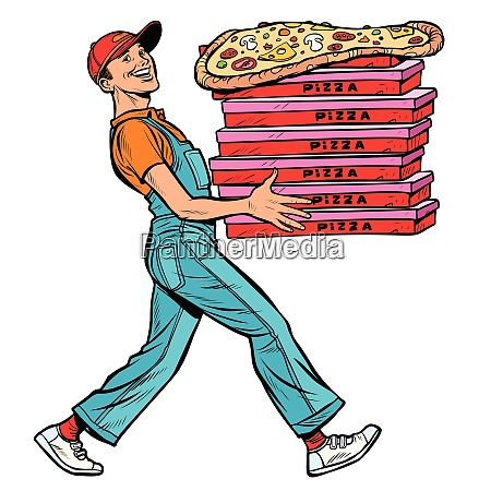 young man pizza boy food delivery