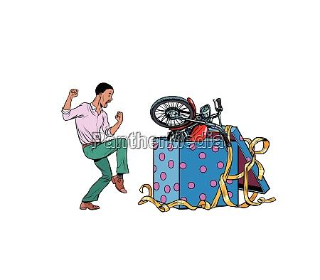 afrikanischen mann und motorrad urlaub geschenk
