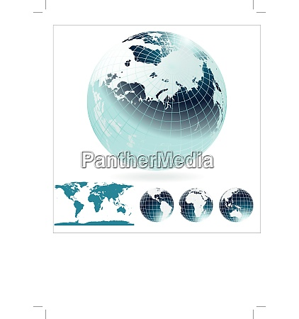 vector world map with globes set
