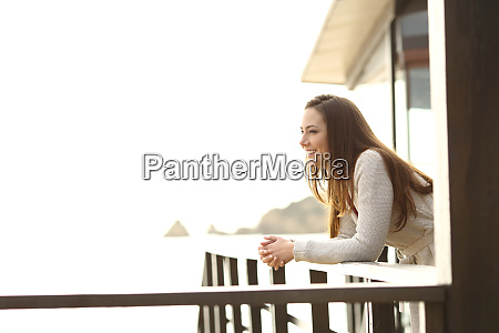 hotel, guest, contemplating, views, from, balcony - 26604734