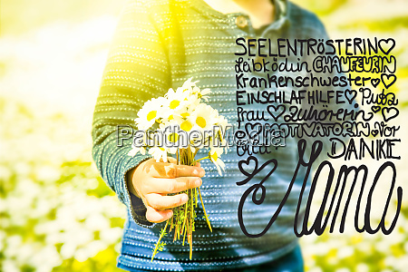 child bouquet of daisy flower calligraphy
