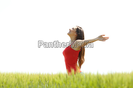 profile of a girl breathing fresh