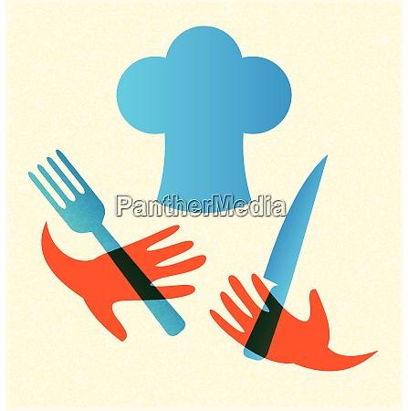 koch mit messer und gabel symbol