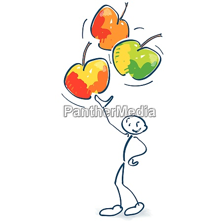 stick figure with three apples in