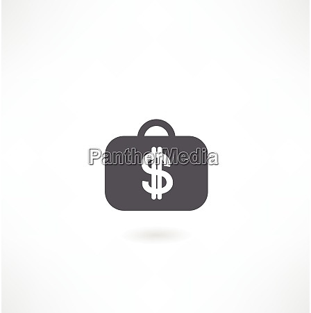 koffer mit dollar symbol