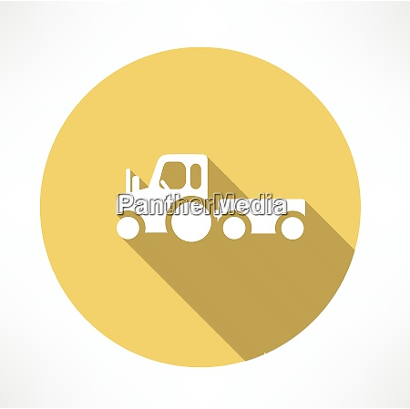 tractor with trailer icon flat modern