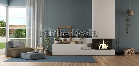 blaues modernes wohnzimmer mit kamin