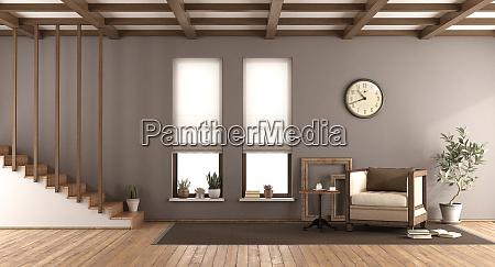 braunes wohnzimmer im retro stil