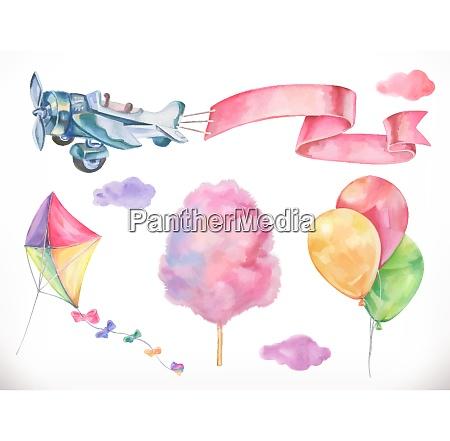 aquarell luft drachen flugzeug zuckerwatte und