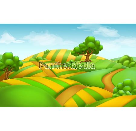 farm field landscape 3d vector background