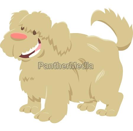 happy shaggy dog cartoon animal character