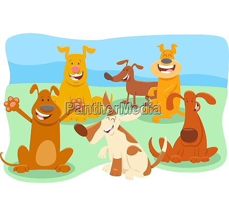 dogs cartoon animal characters group