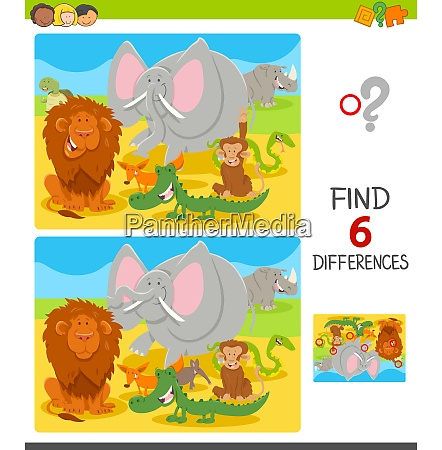 find differences with cartoon animal characters