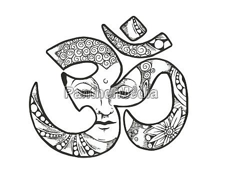 om hinduistisch schwarz weiss illustration buddha