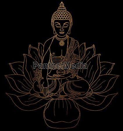 goldene buddha meditation zen metallischen hintergrund