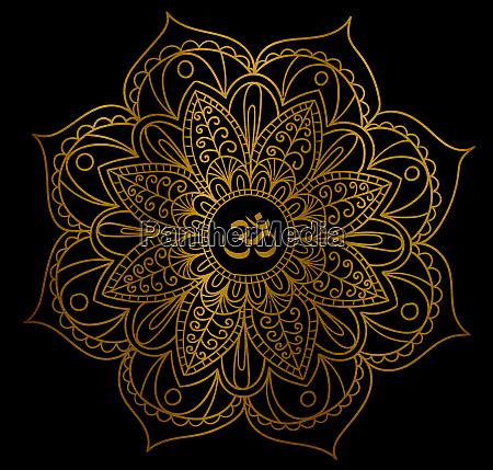 mandala om hinduism golden metallic zen