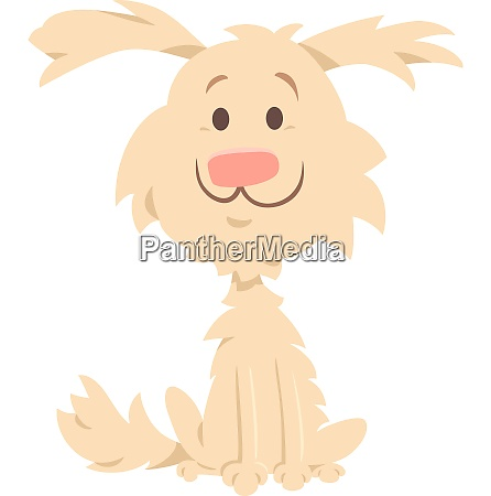 cute shaggy beige dog cartoon character