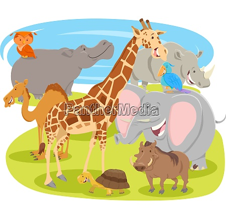 cartoon funny animal characters group