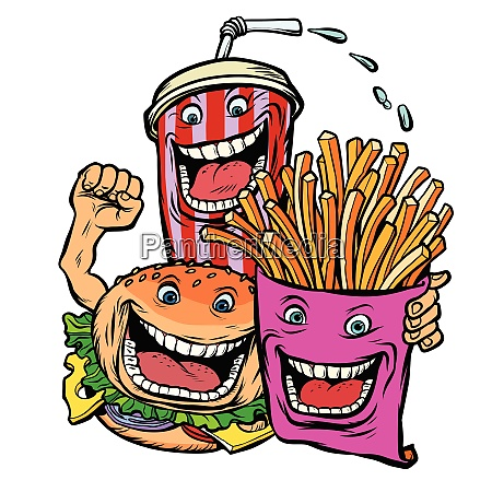 burger cola drink fries potatoes fast