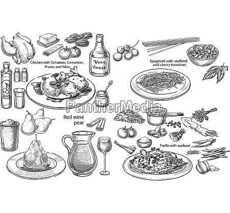 rezept menue mediterran vektor poster gravur