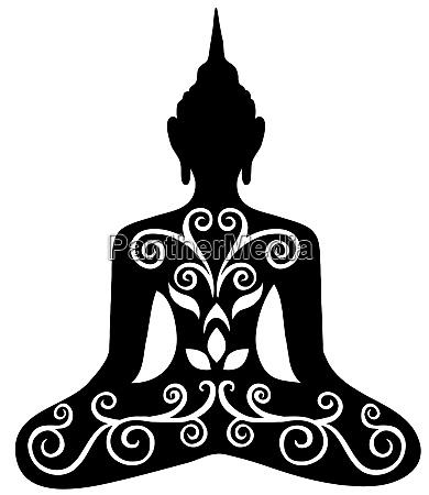 buddha silhouette schwarze blumen meditation zen