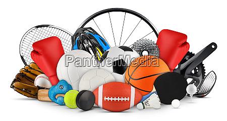 riesiger sammelhaack von sportbaellentragegeraeten aus verschiedenen