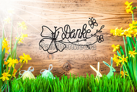 sunny easter decoration calligraphy danke means