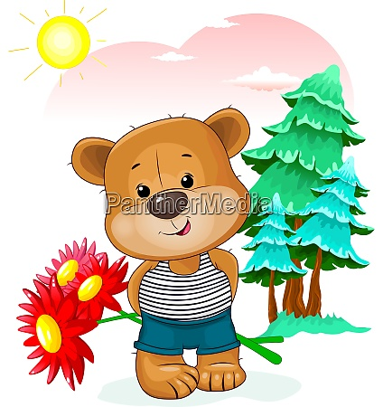 bear with a bouquet of flowers