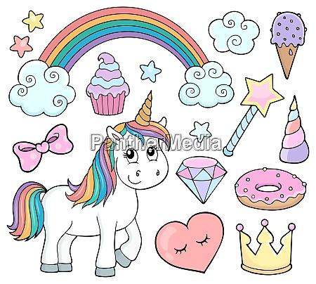unicorn and objects theme image 1