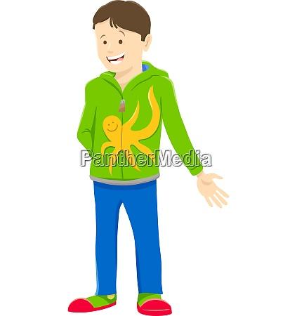 happy kid or teen boy cartoon
