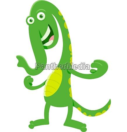 green fantasy cartoon monster character