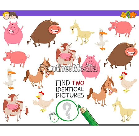 find two identical farm animals game