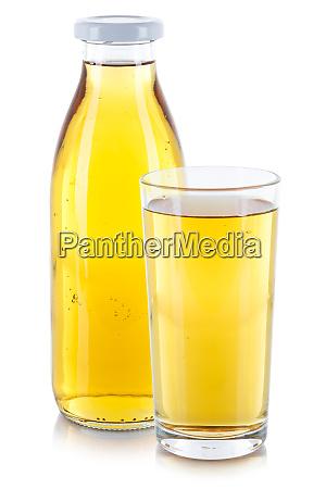 apfelsaft trinken flasche glas isoliert auf