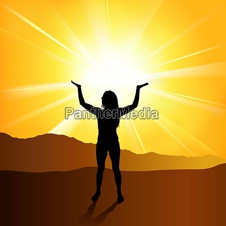 silhouetted spirituelle frau
