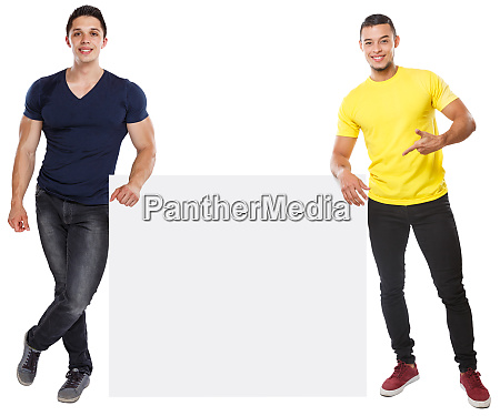 young men showing pointing copyspace marketing