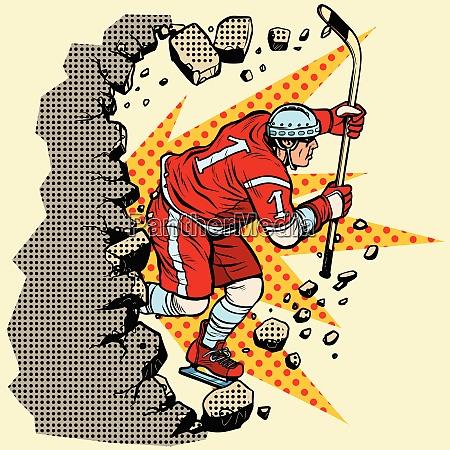hockey player breaks a wall winter