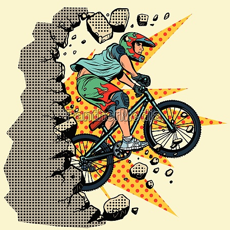 cyclist extreme sports wall breaks