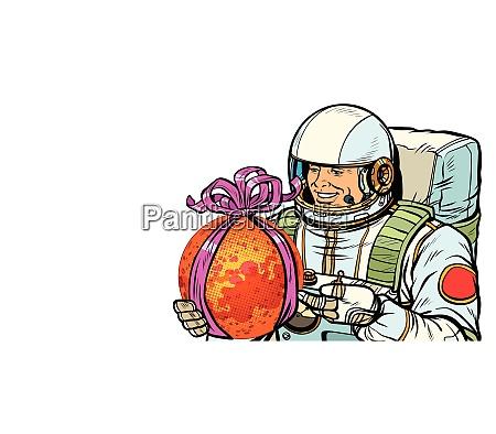 astronaut gibt den planeten mars isolieren