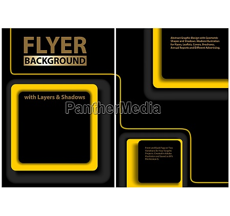 black flyer template with yellow geometric