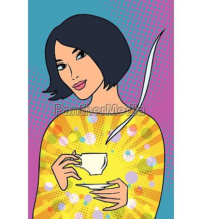 asiatische frau mit einer tasse kaffee