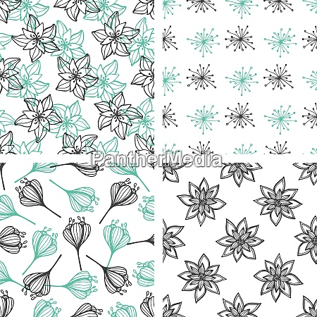 set of decorative vector floral seamless