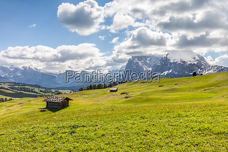 alpine, meadows, and, mountain, huts, on - 26676381