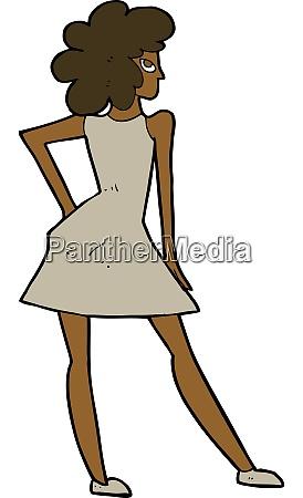 cartoon woman posing in dress