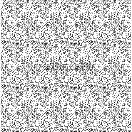 damask seamless outline pattern