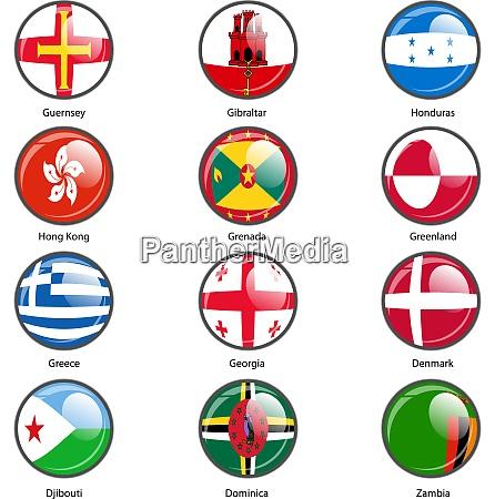 set circle icon flags of