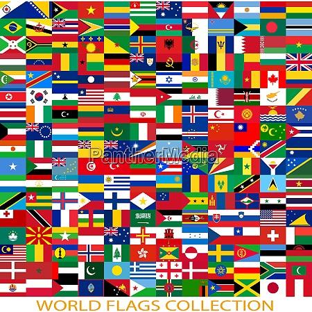 flaggen der welt und karte auf