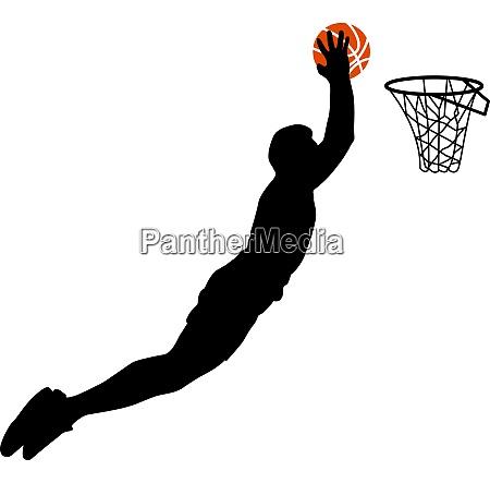 schwarze silhouetten von maennern die basketball