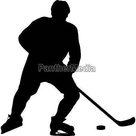 silhouette des hockeyspielers isoliert auf weiss